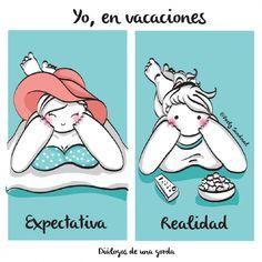 Ilustraciones de una chica gordita en vacaciones