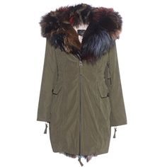 SLY 010 Sophistication Fox Khaki Green // Parka with fur trim (€1.899) ❤ liked on Polyvore featuring outerwear, coats, parka coats, green hooded coat, green hooded parka, khaki coat and brown coat