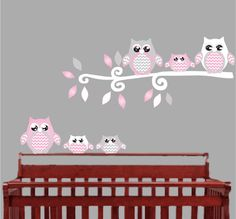 pink owl wall decals stickers nursery decor plum vase home creative living room