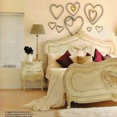 Hearts on wall and the bed frame!