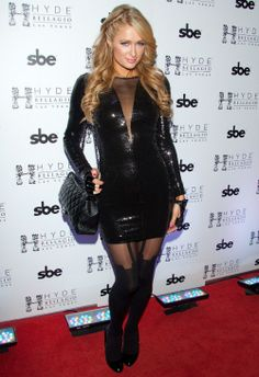 Paris Hilton wearing Chanel 2.55 Bag HOUSE OF HOLLAND for PRETTY POLLY super suspender tights Prada Black Patent Leather Silver Heels