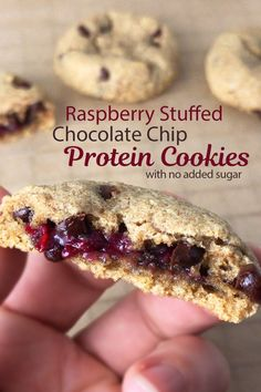 Chocolate chip protein cookies stuffed with delicious raspberry! No sugar added in the cookie mix or raspberry filling. High Protein Recipes, Protein Foods, Raspberry Cake Filling, Baking With Protein Powder, Mary Recipe, Cake Fillings, Protein Cookies, Chocolate Chip Cookie Dough, Low Sugar