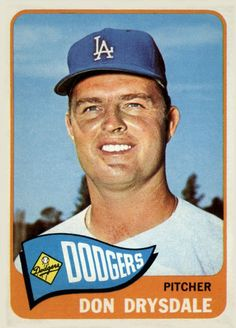 In 1965 Don Drysdale was the Dodgers only hitter and tied his own N. record for pitchers with 7 HRs he also won 23 games on his way to win the Dodgers third World Series. Baseball Card Values, Old Baseball Cards, Baseball Crafts, Mlb, Don Drysdale, Brooklyn, Dodgers Baseball, Baseball Park, Baseball Jerseys