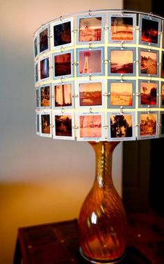 Make a lampshade out of your pictures! Even better you vintage slides from your family! #travel #DIY