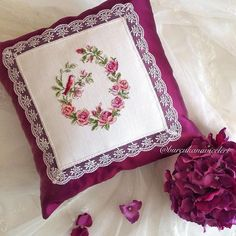 For those who love the dignity of my plum, I am here with a promise pillow design, this time, I am w Hand Embroidery Designs, Diy Embroidery, Embroidery Patterns, Cross Stitch Patterns, Crochet Patterns, Diy Cushion, Cushion Fabric, Diy Pillows, Custom Pillows