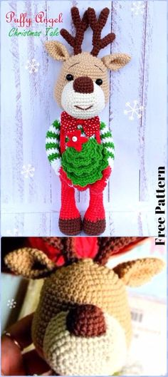 Crochet Christmas Deer Free Pattern - Crochet Amigurumi Deer Toy Softies Free Patterns