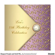 Elegant Purple And Gold Womans Birthday Party Invitation