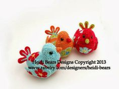 Ravelry: Bluebird of Happiness African Flower Crochet Pattern pattern by Heidi Bears - purchased pattern Crochet African Flowers, Crochet Birds, Crochet Flower Patterns, Crochet Motif, Crochet Flowers, Crochet Toys, Crochet Stitches, Knit Crochet, Animal Fibres