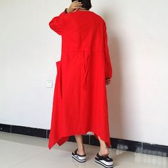 Red Women Maxi Dress Plus Size Dress Loose by loosedress2015