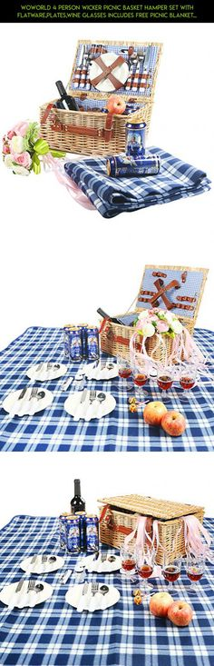 Woworld 4 Person Wicker Picnic Basket Hamper Set with Flatware,Plates,Wine Glasses Includes FREE Picnic Blanket Blue and White Liner #camera #drone #kit #racing #gadgets #storage #products #technology #4 #fpv #tech #shopping #basket #plans #parts