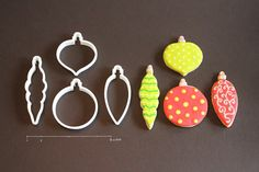 Set of Four Christmas Ornament Cookie Cutters