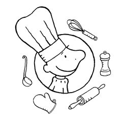 Kleurplaat kok Classroom Themes, Classroom Activities, Food Themes, Clipart, Easy Drawings, Mini, Kindergarten, Doodles, Snoopy