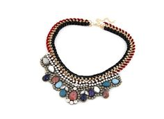 a4e7fbb99dae Czech Rhinestone Embedded with Colorful Gems Weaving Style Chunky Necklace  - Gray