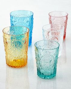 """Fleur-de-Lis"" Glassware, Handcrafted of soda-lime glass. Made in Portugal, coloured, patterned, embossed, pressed tumblers"