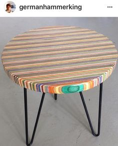 Upcycled Skateboard Coffee Table | #UpcycledTable | #Skateboards Diy Home Interior, Diy Home Furniture, Deco Furniture, Funky Furniture, Paint Furniture, Plywood Furniture, Furniture Making, Furniture Design, Wood Projects