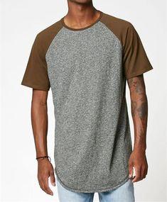 Men's Skate Street Hip Hop Gray Raglan T Shirt USA Size S-XL ( Long)