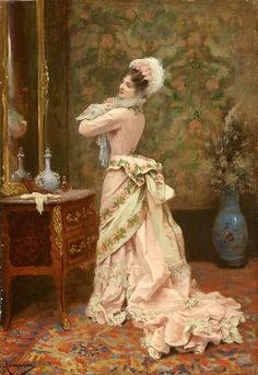 Toilette by Jules James Rougeron, 1877.This dress is just gorgeous!