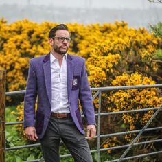 Harris Tweed Jacket, Embroidered Badges, Scotland, Suit Jacket, Menswear, Velvet, Pockets, Blazer, Navy