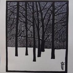 "Printmaking, ""Jardin d'hiver - Original linocut / Winter / Trees / Snow / Forest - Limited Edition 2 of Géraldine Theurot; Printmaking, ""Jardin d'hiver - Original linocut / Winter / Trees / Snow / Forest - Limited Edition 2 of Gravure Illustration, Forest Illustration, Linocut Prints, Art Prints, Snow Forest, Linoprint, Winter Trees, Kirigami, Woodblock Print"