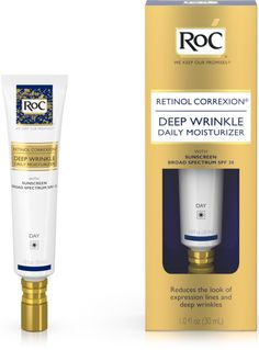 RoC Retinol Correxion Deep Wrinkle Daily Moisturizer RoC Retinol Correxion Deep Wrinkle Daily Moisturizer reduces the look of expression lines and deep wrinkles. A daily moisturizer with sunscreen that helps reduce the appearance of. Anti Aging Facial, Best Anti Aging, Anti Aging Cream, Anti Aging Skin Care, Facial Diy, Best Wrinkle Serum, Anti Wrinkle, Smoothie, Anti Aging Moisturizer