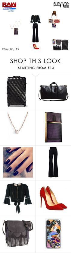 """""""Outfit of The Day"""" by caramara3 ❤ liked on Polyvore featuring Tumi, Louis Vuitton, ZoÃ« Chicco, Elizabeth and James, Lottie, Alexander McQueen, For Love & Lemons, Smashbox and Magda Butrym"""