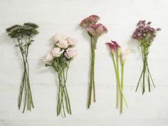 (From left: mauve throatwort/ Trachelium, pale pink single roses, pink cockscombs, dark pink calla lilies and masterwort)