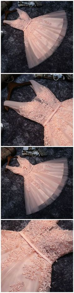 Lace Appliqued Tulle Blush Pink Short Prom Dress,Sweet 16 Dress