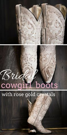 Tan Cowgirl Boots with Rose Gold Swarovski Crystals and White Stitching.  Gorgeous boots for any country bride. Love these.#ad #countrywedding #bridal #cowgirl #cowgirlboots #cowgirlchic #weddingideas #rusticwedding #countrygirl