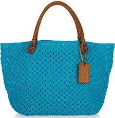 Ralph Lauren Collection Crochet and Leather Tote Bag Crochet, Crochet Shell Stitch, Crochet Rope, Crochet Handbags, Crochet Purses, Crochet Pattern, Ralph Lauren Collection, Knitted Bags, Handmade Bags