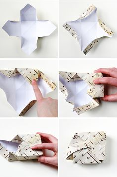 How to fold a Diy Square Origami Box with interlocking lid.