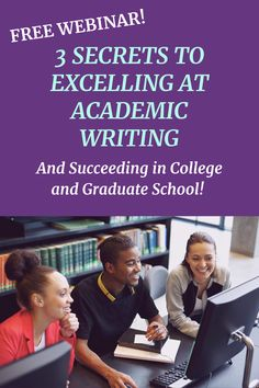 Do you know how to skyrocket your academic writing?  Join me for my free webinar and see 3 secrets to you need to know to excell at academic writing and succeed in your classes! #academicwriting #college #gradschool Academic Writing, Writing Skills, Essay Writing, Writing Tips, In High School, Graduate School, Research Paper, Need To Know, The Secret