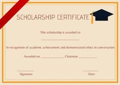 Blank Scholarship Certificate Template  Scholarship Certificate
