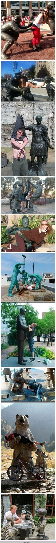 Funny Pictures Of People Having Fun With Statues - Tap the link now to see all of our cool cat collections!