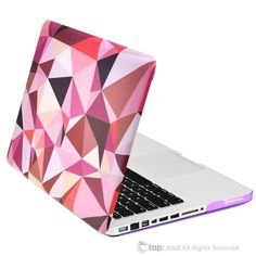 "Purple Geometric Abstract Art Pattern Rubberized Hard Case for MacBook Pro 13"" Model A1278"