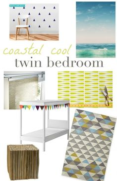 A Coastal Cool Twin Bedroom Makeover - the vision board and plan for a DIY kid's bedroom.  #oneroomchallenge