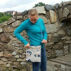Manšestrová s džínovinou modrá béžová přes rameno manšestrová džínová kabelka