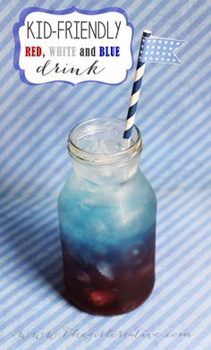 Red White and Blue drink - Non-alcoholic, Kid-friendly #memorialday #4thofjuly #patrioticrecipes