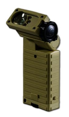 The Streamlight Sidewinder Military Flashlight is the most versatile military light in the world. It's really twenty flashlights in one! Each LED features 4 levels of output intensities: Low (5%), Medium (20%), Medium-High (50%), High (100%) plus a Strobe function (100%) Super Bright White Led, Red LED, Green LED, Blue LED.