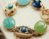 Blue and Green Crystal Jewel Bracelet