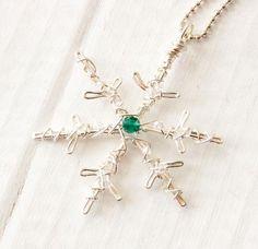 Silver Snowflake Necklace, Birthstone Jewelry, Winter Wonderland – HopefilledJewelry