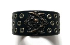 Your place to buy and sell all things handmade Bracelets For Men, Cuff Bracelets, Leather Wristbands, Skull Bracelet, Men's Leather, Antique Brass, Skulls, Handmade, Stuff To Buy