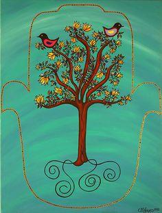 Tree Of Life Hamsa Canvas Print / Canvas Art by Catherine Barry