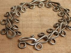 Hand Made Chain Bracelet Forged Steel Jewelry by JeanineDesigns