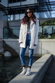 Teddy coat lace top & boyfriend jeans #fashion