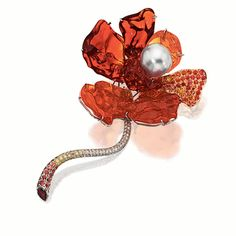 FIRE OPAL, CULTURED PEARL, COLOURED SAPPHIRE, YELLOW DIAMOND AND DIAMOND 'FLOWER' BROOCH