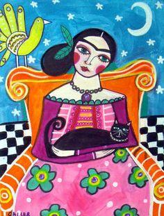FRIDA KAHLO Black Cat Mexican Folk Art Print by HeatherGallerArt, $28.00