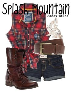 """Splash Mountain"" by disney-bound ❤ liked on Polyvore featuring Hollister Co., Superdry, Steve Madden, Jack Wills, With Love From CA and splashmountaindisneydisneyboundplaidcombatboots"
