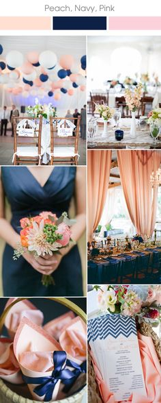 trending pink, navy and peach wedding color combination ideas