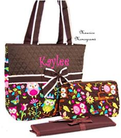 Personalized Owl Print Diaper Bag Set - Monogrammed FREE Brown and Owl Print. $35.00, via Etsy.