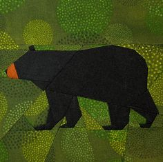 Abel Black Bear paper piecing quilt pattern from Schenley P etsy shop Paper Pieced Quilt Patterns, Quilt Block Patterns, Quilt Blocks, Barbie Vintage, Vintage Clip, Animal Quilts, Foundation Paper Piecing, Sully, Barn Quilts